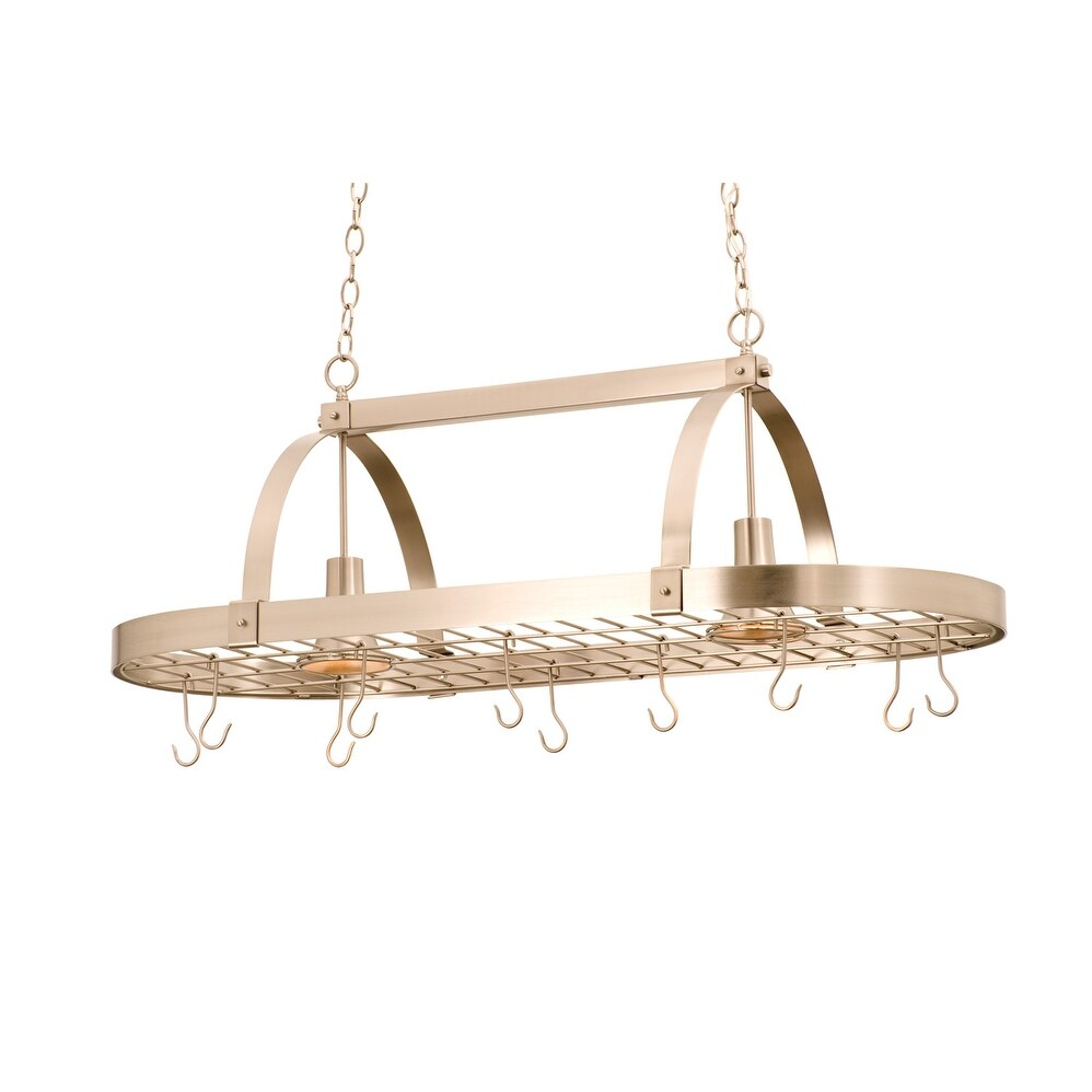 Kalco 3617SN Two Light Pot Rack Contemporary Satin Nickel - One Size (One Size - Clear)