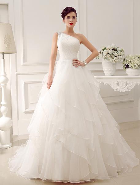 Milanoo Marfil vestido de novia con escote a un solo hombro y lentejuela de cola capilla