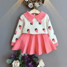 Toddler Girls Strawberry Print Sweater & Pleated Knit Skirt