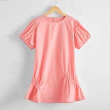 Girls Puff Sleeve Zipper Back Dress