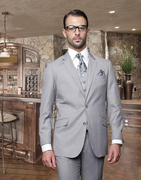2 Button Gray Suit with a Vest Supers Italian Wool Slanted Pocket