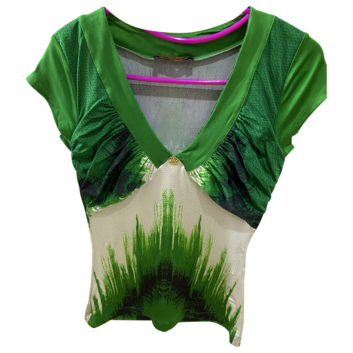 Roberto Cavalli \N Green Silk  top for Women M International