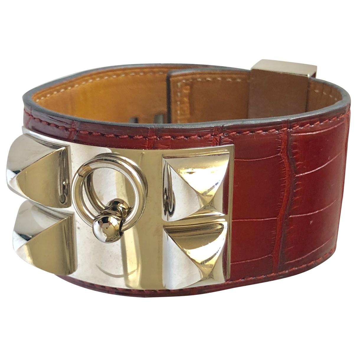 Hermes - Bracelet Collier de chien  pour femme en crocodile - bordeaux