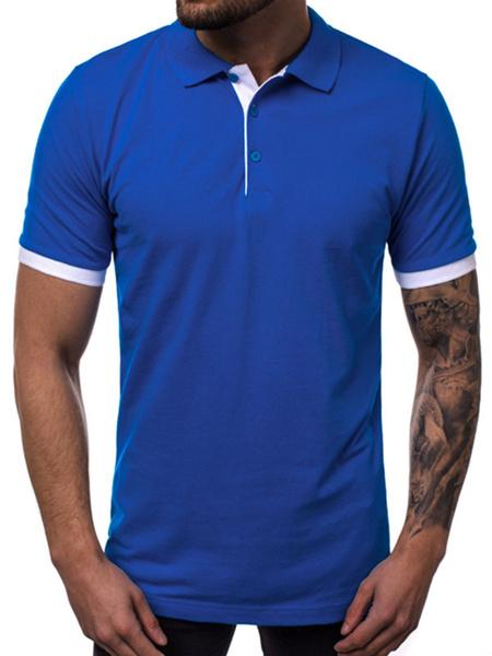 Milanoo Mens Polo Shirt Color Block Turndown Collar Short Sleeves Buttons Top