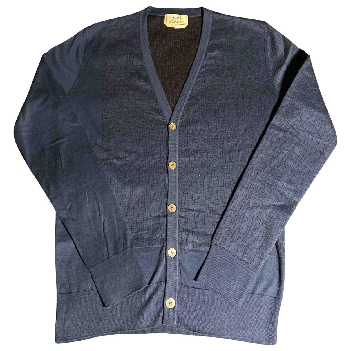 Hermes - Pulls.Gilets.Sweats   pour homme en coton - marine