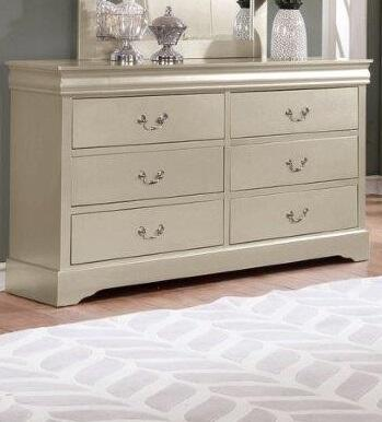 Louis Philippe Collection LP800-DR Dresser with 6 Drawers and Metal Center Glides in Champagne