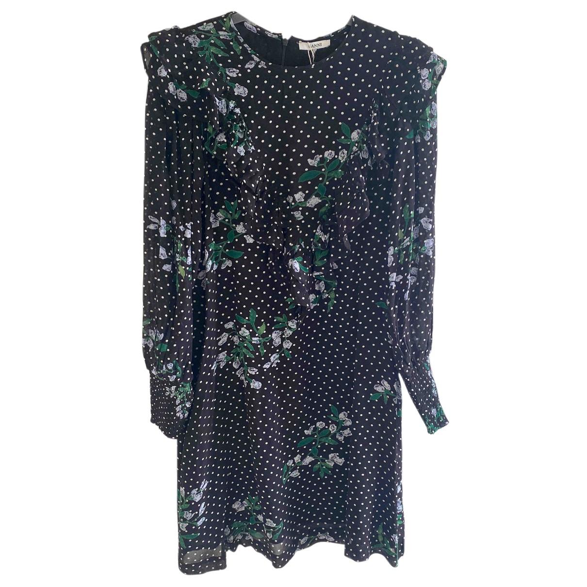 Ganni \N Kleid in  Schwarz Viskose