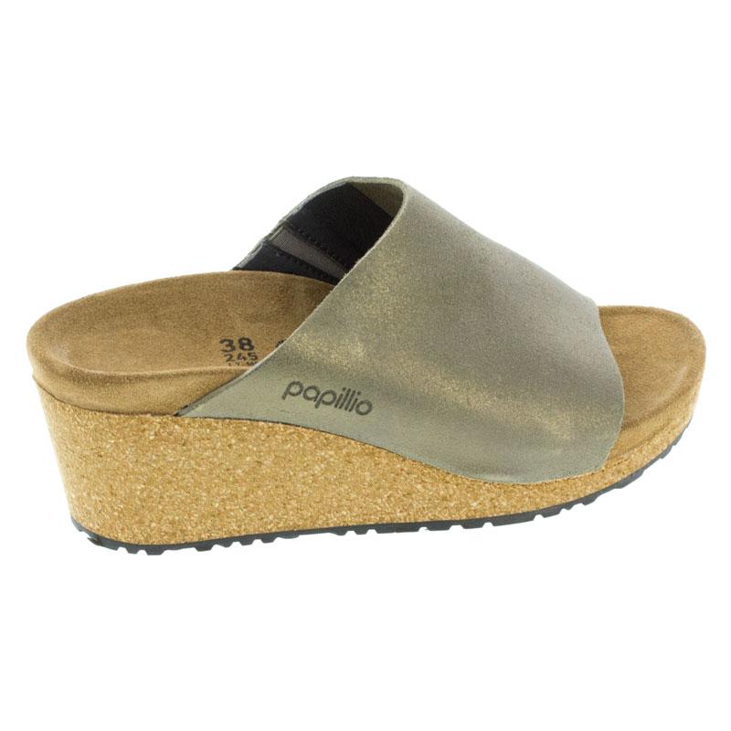 Birkenstock Namica Washed Metallic Stone Gold Leather High Heel 41 N