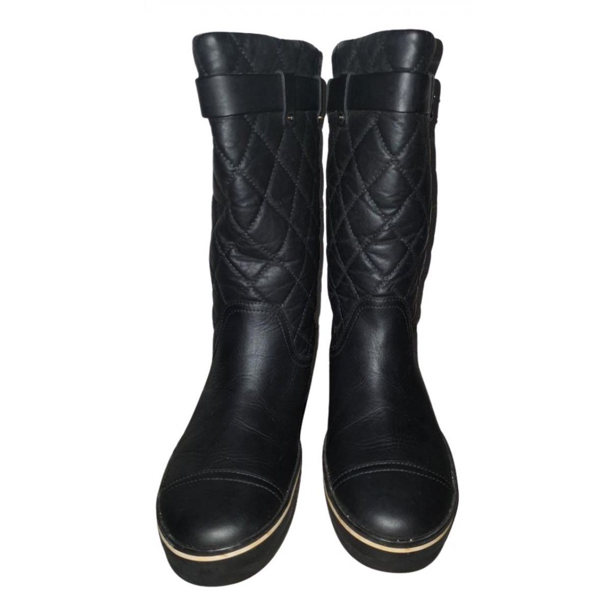 Chanel N Black Leather Boots for Women 36.5 EU