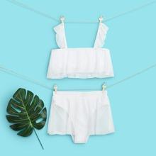 Bikini Badeanzug mit Netzstoff und Rueschenbesatz
