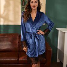 Tunica de pijama de terciopelo con cordon