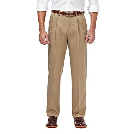 Haggar Premium No Iron Classic-Fit Pleated Khakis, 44 29, White