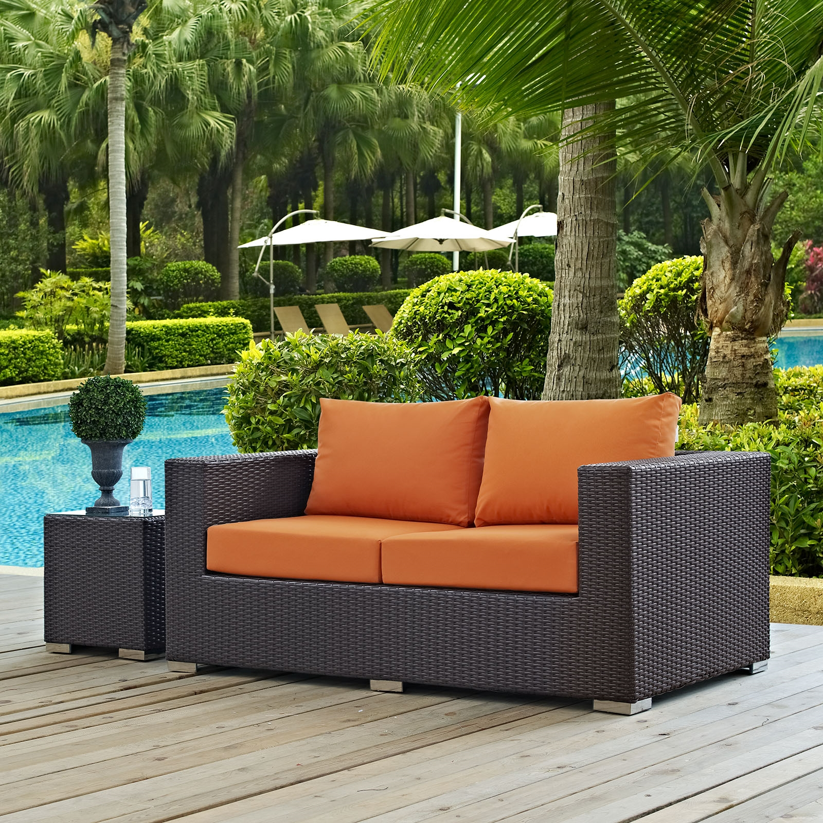 Convene Outdoor Patio Loveseat in Espresso Orange
