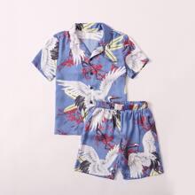 Boys Revere Collar Crane Bird & Floral Print Satin Shirt And Shorts PJ Set