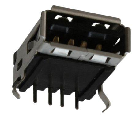 Molex USB Connector, Panel Mount, Socket A, Solder, Right Angle- Single Port (5)