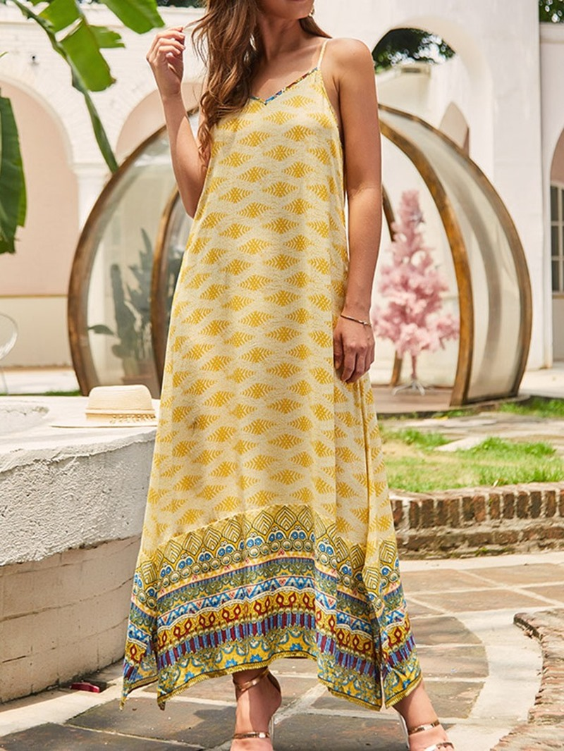 Ericdress Print Split Casual Ankle-Length Spaghetti Strap Maxi Dress