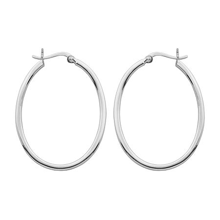Sterling Silver 20-37mm Oval Square Hoop Earrings, One Size , No Color Family