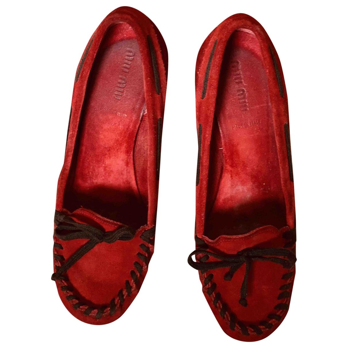 Miu Miu - Escarpins   pour femme en suede - rouge