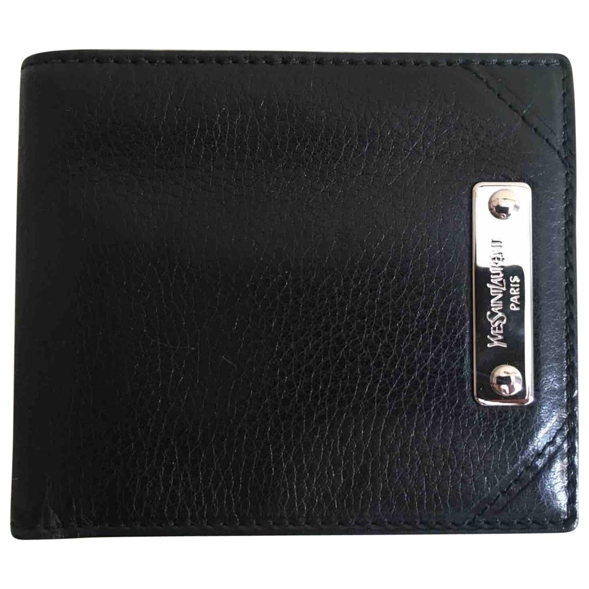 Yves Saint Laurent \N Black Leather Small bag, wallet & cases for Men \N