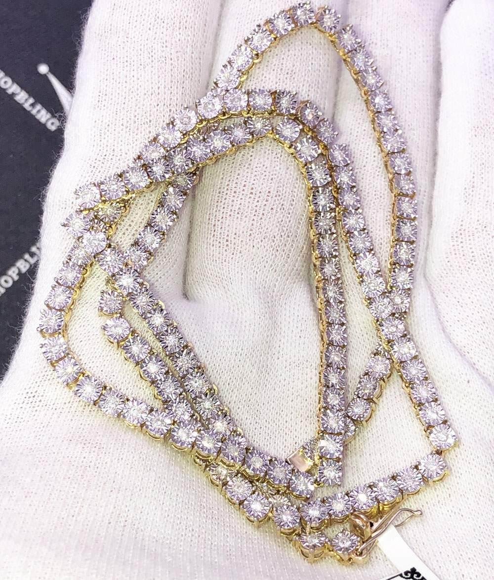 Diamond Tennis Chain 3.20cttw Diamond 10K Yellow Gold