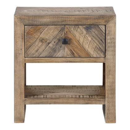Teigen Collection FR-1005-03 Nightstand with Solid Reclaimed Pine Wood in Brown