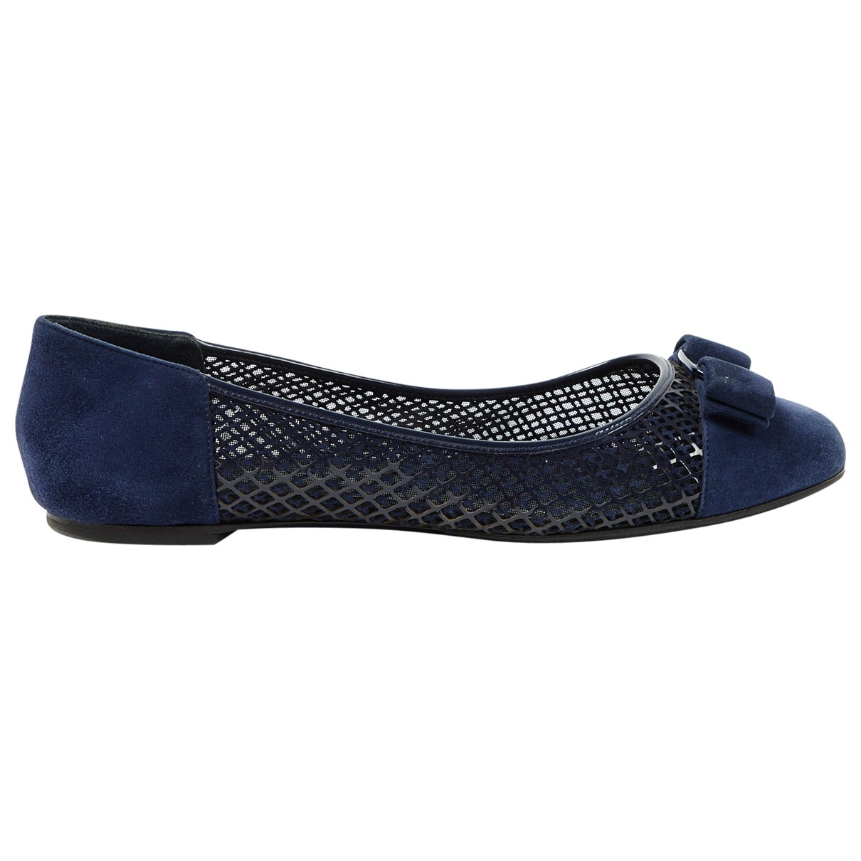 Salvatore Ferragamo \N Navy Suede Ballet flats for Women 9.5 US