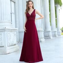 Zip Back Applique Chiffon Prom Dress