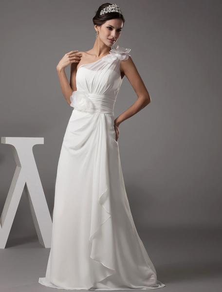 Milanoo Vestido de novia escote palabra de honor pliegues hasta el suelo