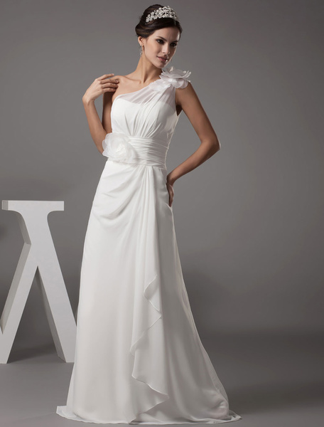 Milanoo Beach Wedding Dress One-Shoulder Flower A-Line Chiffon Pleated Floor Length Bridal Dress