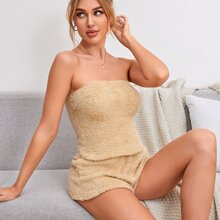 Flanell Tube Top & Shorts Lounge Set