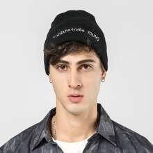 Men Letter Embroidery Beanie
