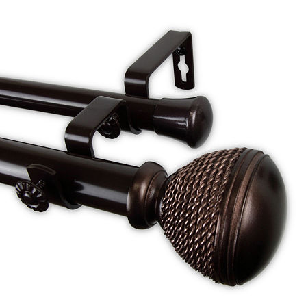 Rod Desyne Braided Double Curtain Rod, One Size , Brown