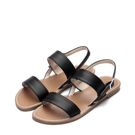 Yoins Black Leather look Pin Buckle Strap Simple Flat Sandals