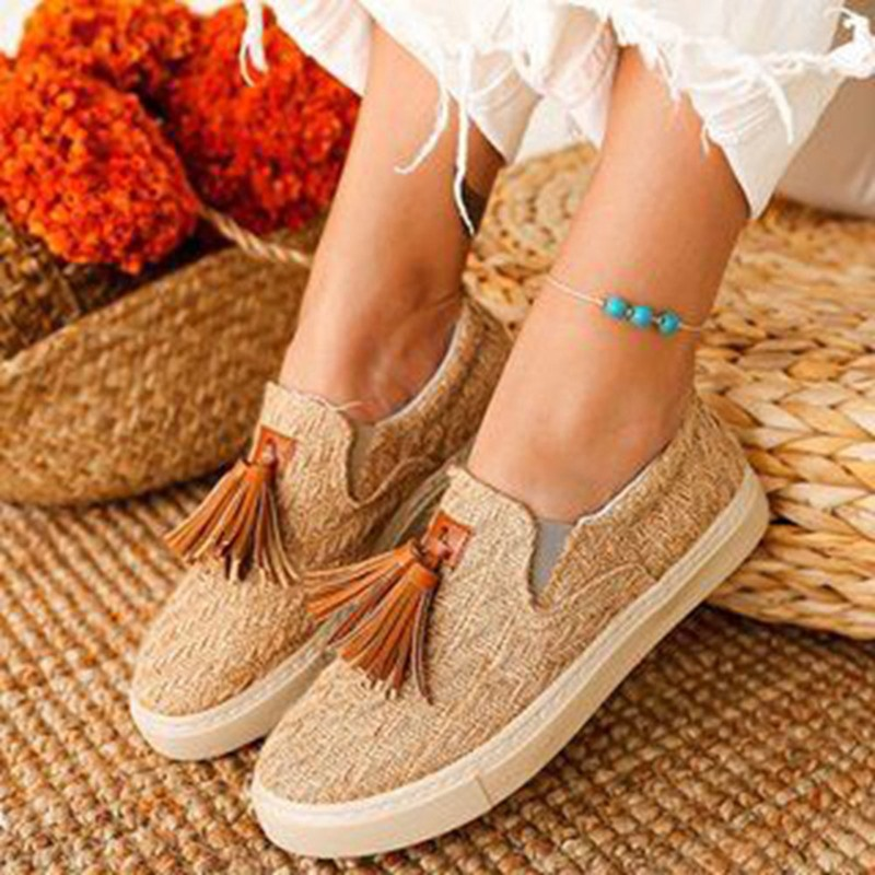 Ericdress Flat With Fringe Slip-On Patchwork Thin Shoes