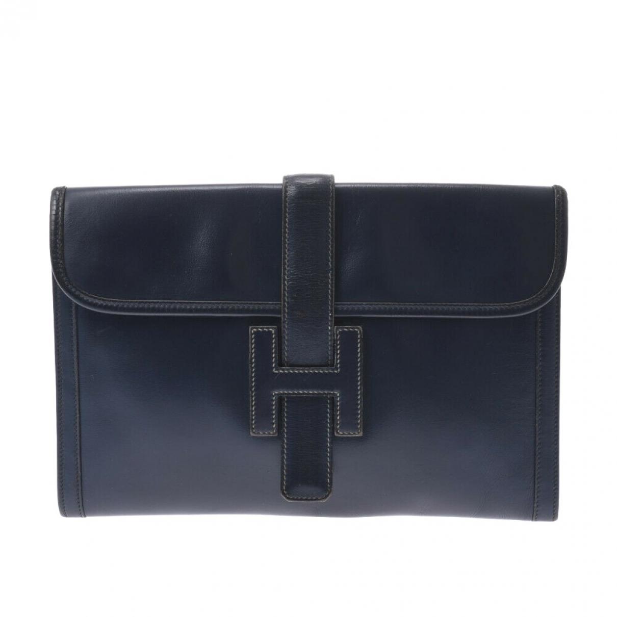 Hermes - Pochette Jige pour femme en cuir - noir