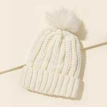 Solid Pom-pom Decor Knit Beanie