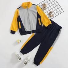 Sudadera con cremallera con costura con pantalones deportivos
