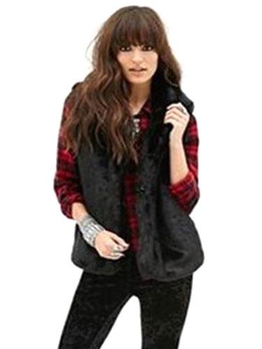 Milanoo Black Vest Faux Fur Trendy Polyester Vest for Women