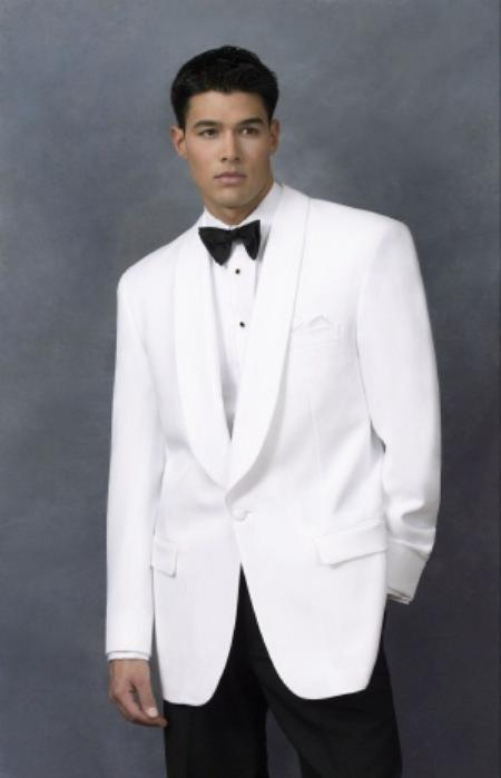 Snow White Dinner Jacket 1 Poly 1 Button Shawl Collar