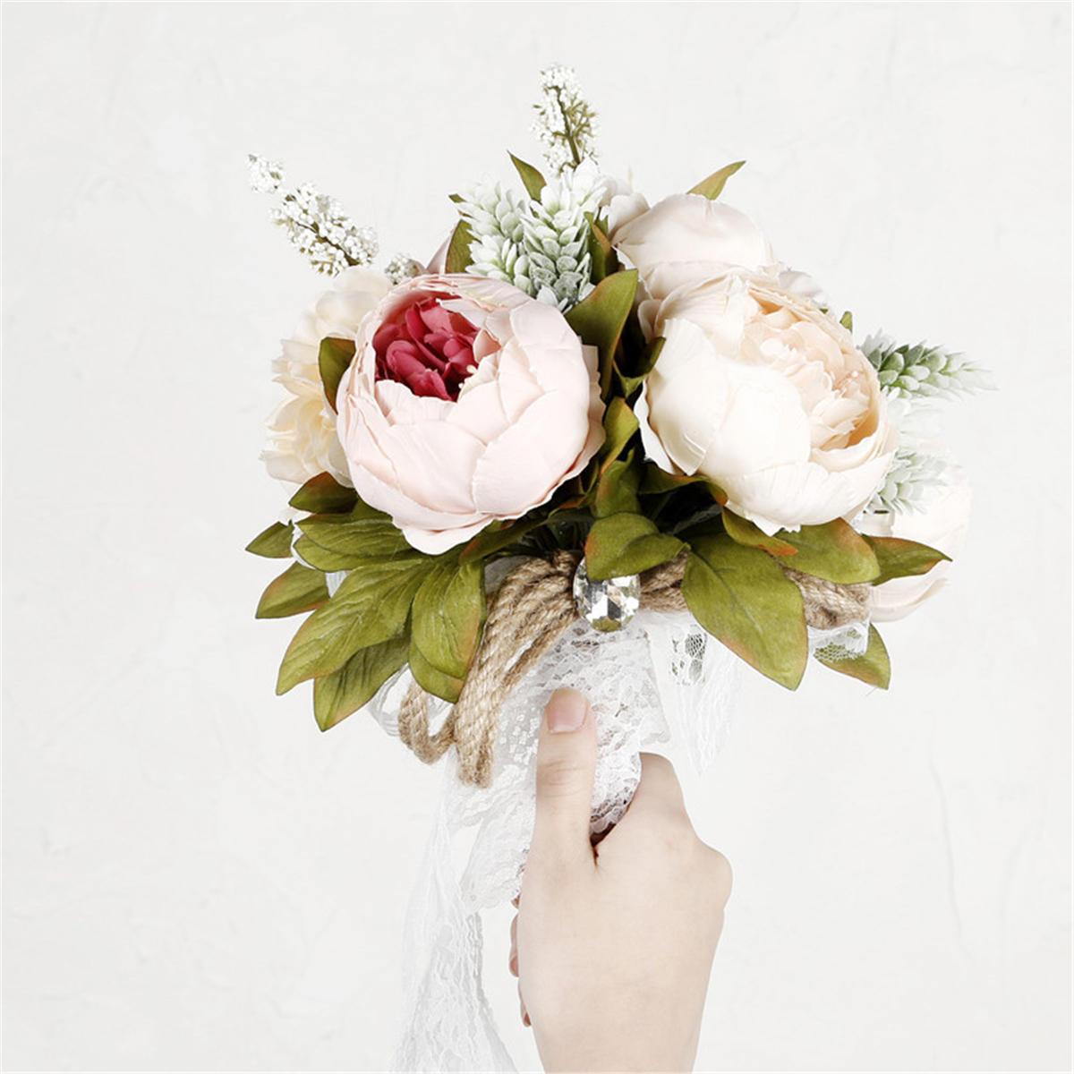 Women Bridal Bouquet Artificial Flower Rose Accessories Bridesmaid Wedding Favors Decor