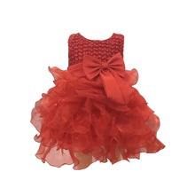Baby Girl Beaded Layered Hem Gown Dress