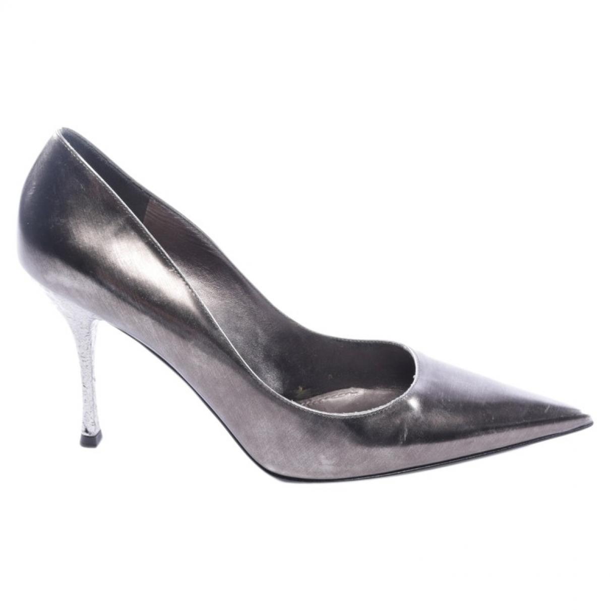 Dolce & Gabbana - Escarpins   pour femme en cuir - metallise