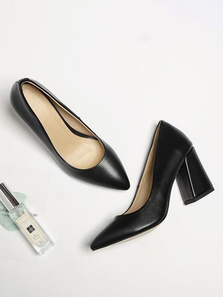 Milanoo Women's High Heels Chunky Heel Slip-On Pointed Toe PU Pumps