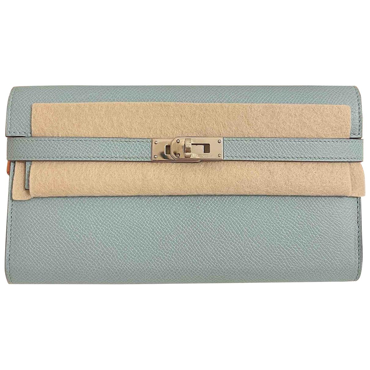 Hermes - Portefeuille Kelly pour femme en cuir - turquoise