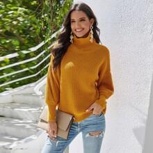Rippenstrick Einfarbig Laessig Pullover