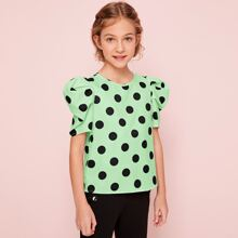 Girls Puff Sleeve Polka Dot Top
