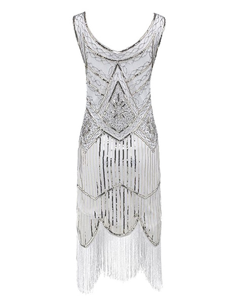 Milanoo 1920s Flapper Dress Great Gatsby Costume Black Gold Sequined Fringe Retro 20s Party Outfits For Women's Vintage Dress Halloween
