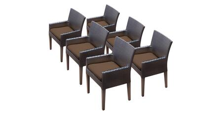 Belle Collection BELLE-TKC097b-DC-3x-C-COCOA 6 Dining Chairs With Arms - Wheat and Cocoa