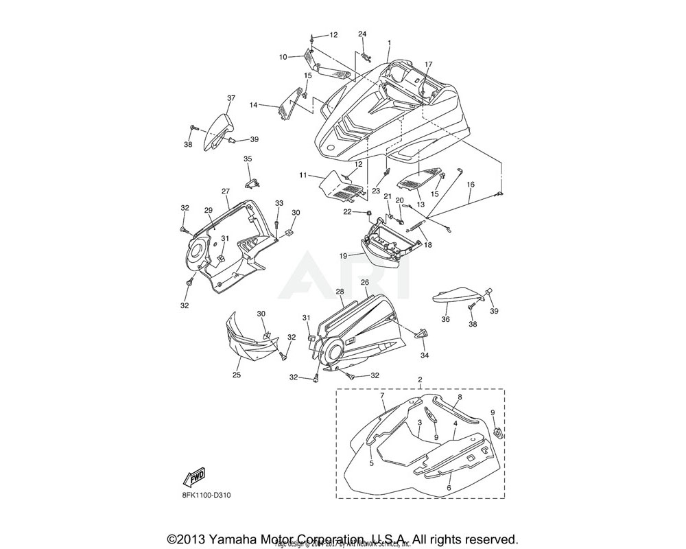 Yamaha OEM 8EP-7819M-00-00 PANEL, FRONT FENDER 2