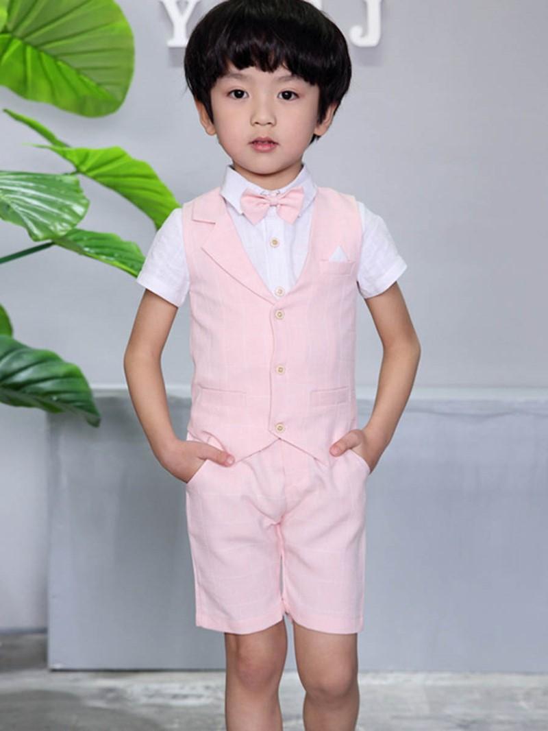 Ericdress Plaid Patchwork Boy's Suit Short Sleeve Shirt Vest Shorts